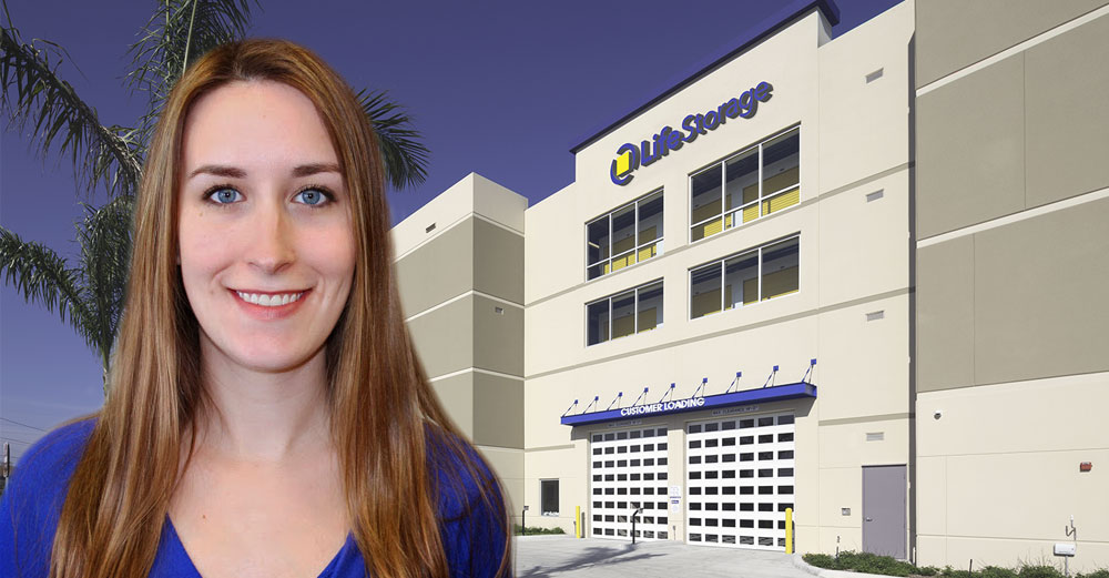 University at Buffalo alum Lauren Thomann headshot with LifeSTorage building