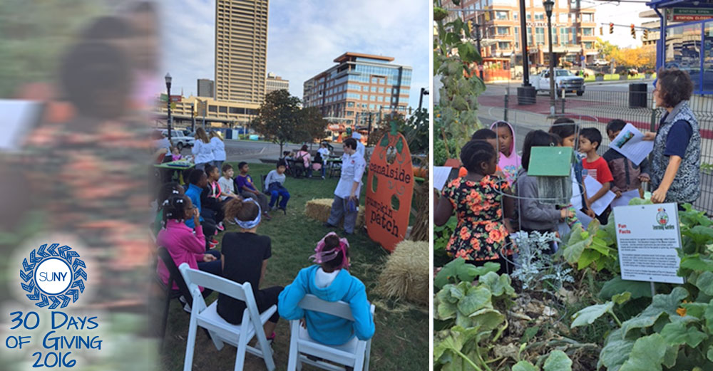 Chef and Child event pictures from Canalside Learning Garden near Erie Community College.