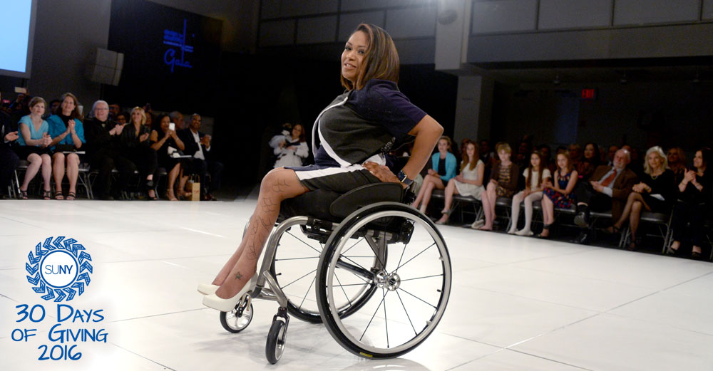 Female in wheelchair at FIT fashion show
