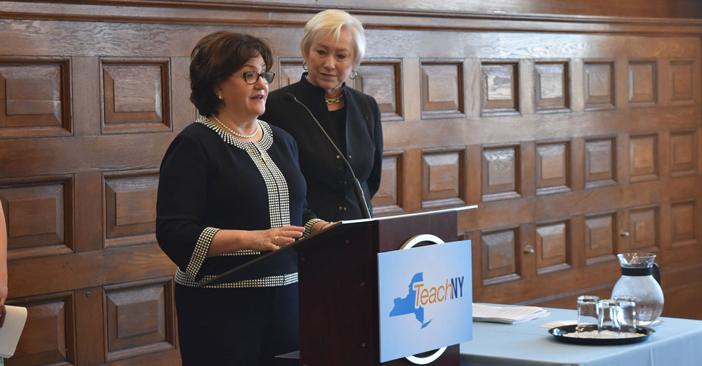 Chancellor Zimpher and NYSED Commissioner Elia at the TeachNY launch press conference.