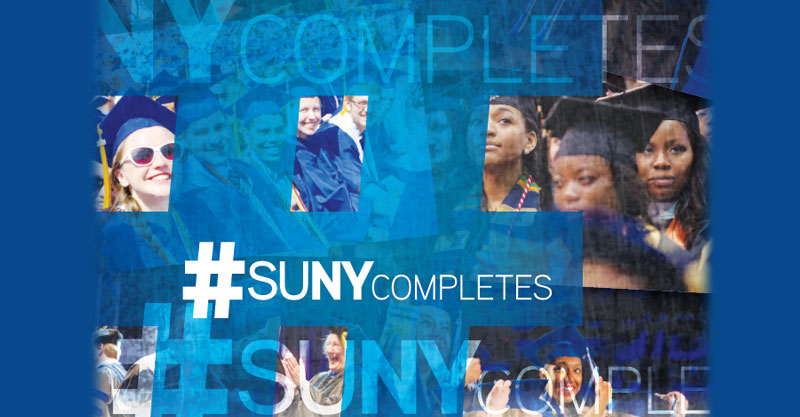 SUNY Completes booklet cover with various graduation photos.