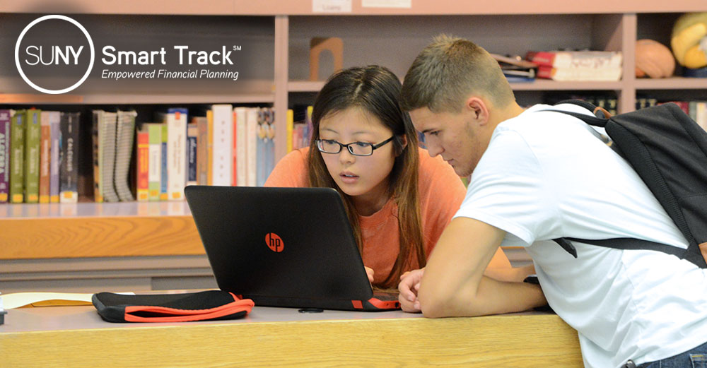 female and male student in library on laptop with Smart Track logo overhead