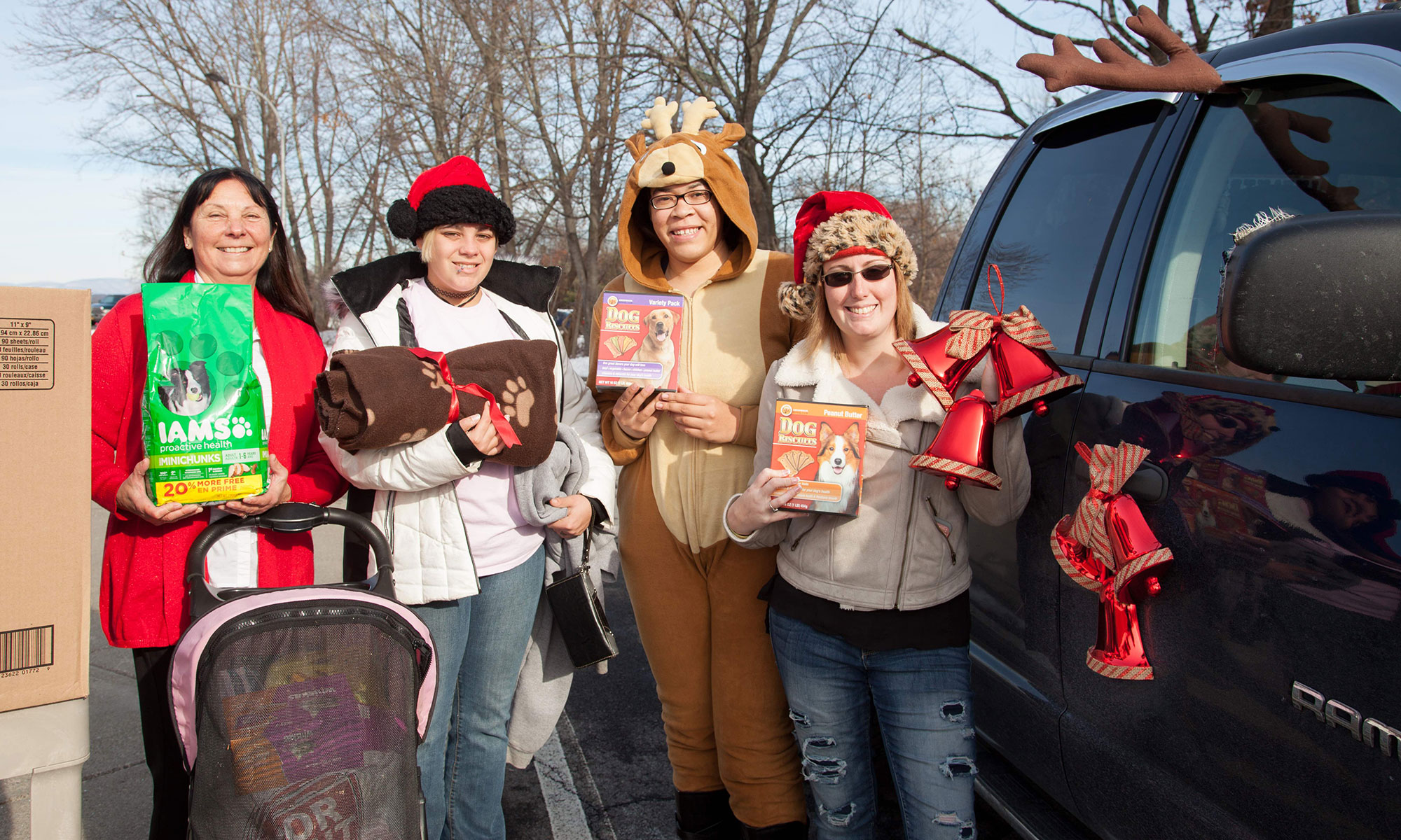 Ulster County Community College Vet Tech Club members outside with donations for the ASPCA.