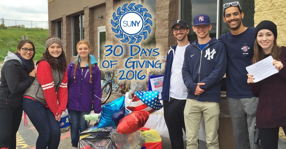30 Days of Giving logo over group standing outside in front of gifts.