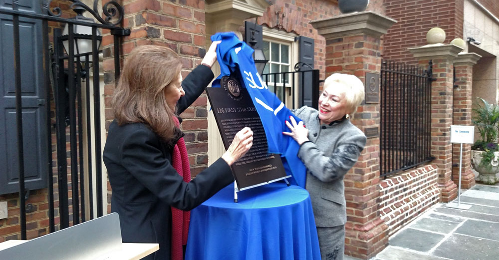 SUNY Global Center historical landmark plaque outside with Chancellor Zimpher.