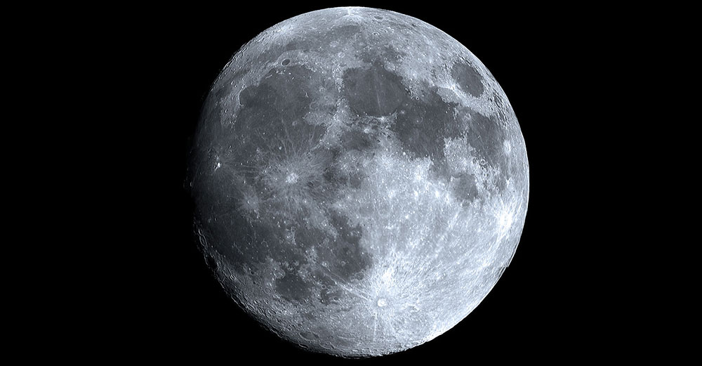 The moon in black and white.