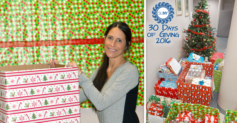 SUNY Orange lays out gifts for the Adopt a Family holiday campaign.