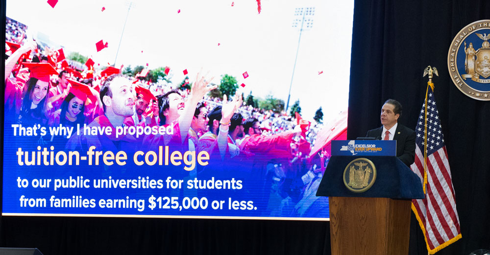 Governor Cuomo announces his free college tuition policy at a 2017 State of the State speech