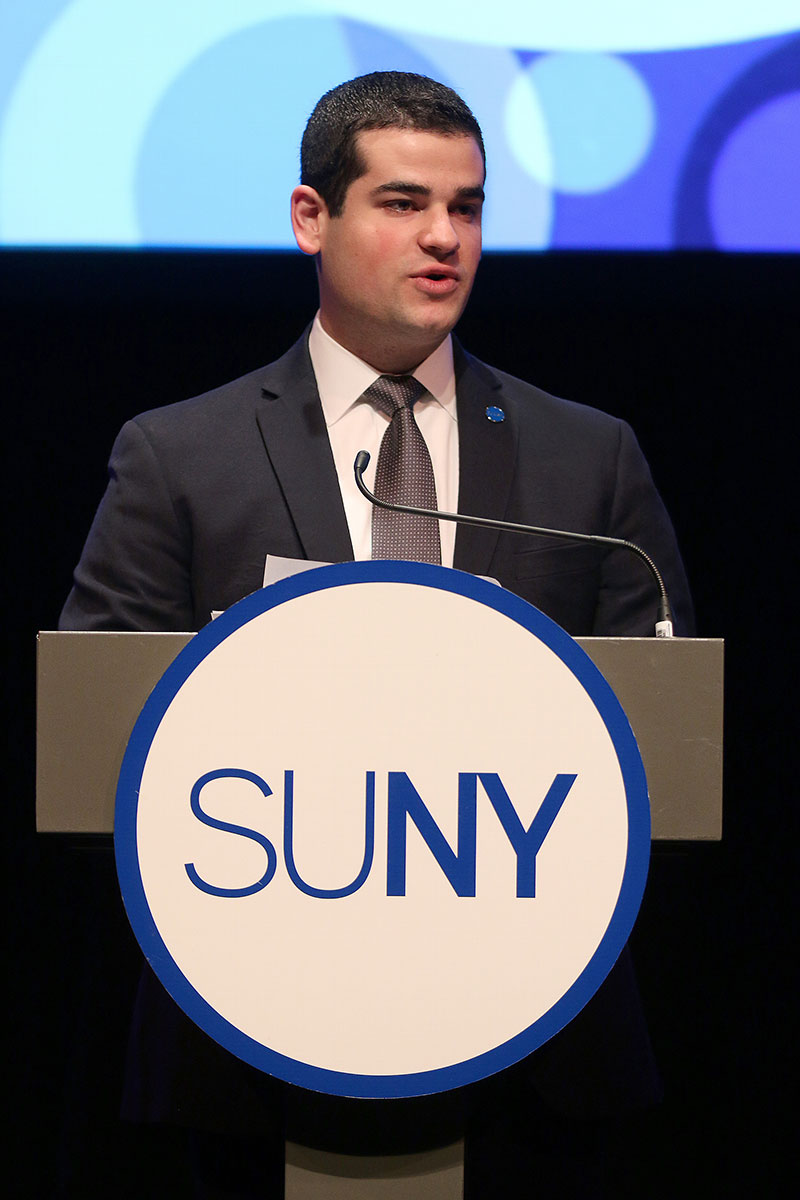 SUNY Student Assembly president Marc Cohen speaks at the 2017 State of the University Address