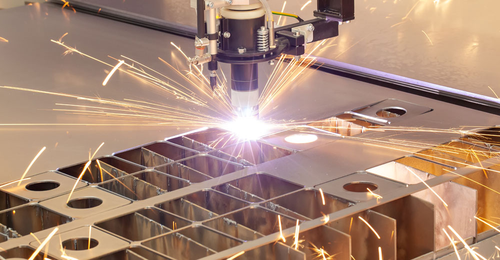 Plasma cutting metalwork on an industry machine
