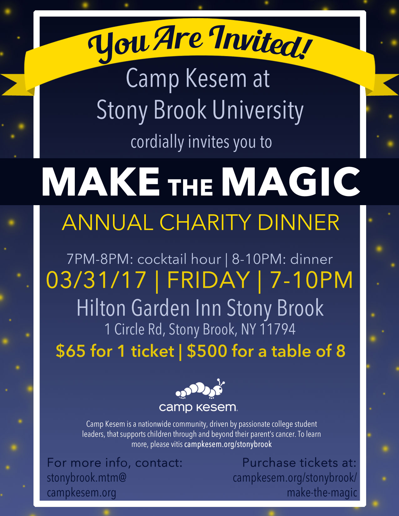 Camp Kesem at Stony Brook University cordially invites you to Make the Magic Annual Charity Dinner