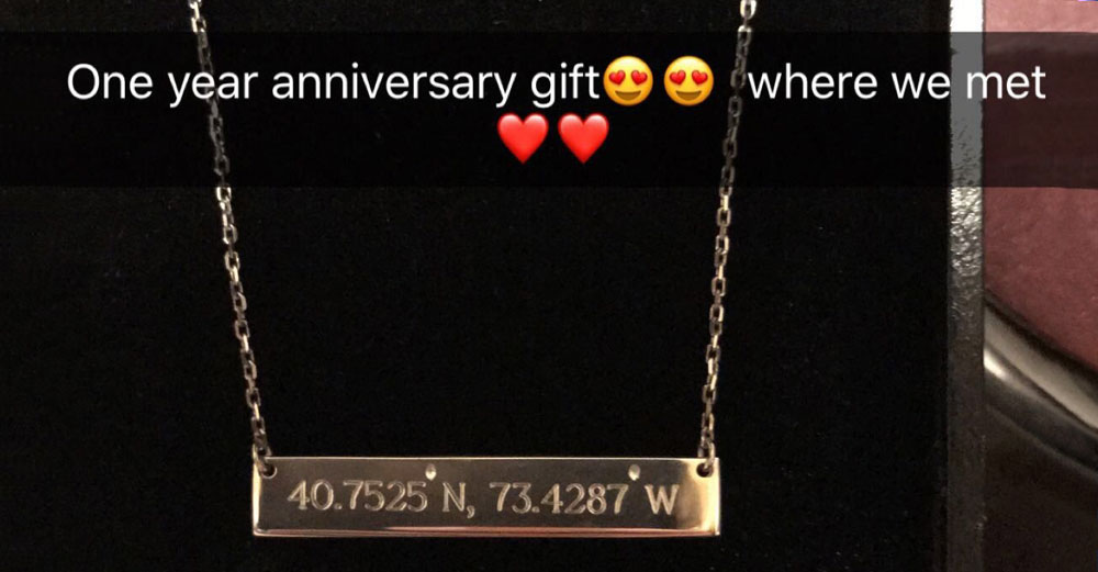 Latitude and longitude necklace saying One year anniversary gift where we met.