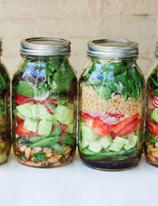 Salad stored in mason jars