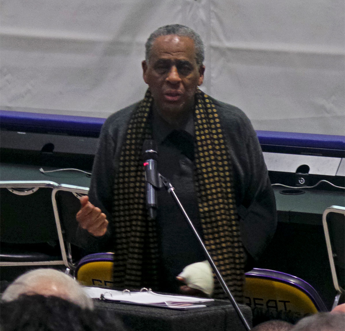 Board Chairman Carl McCall speaks at UAlbany