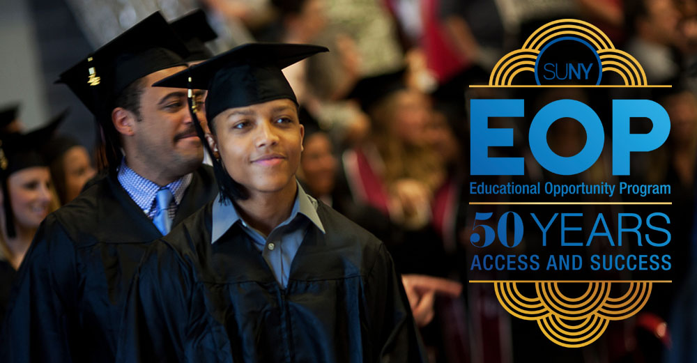 Cortland graduates in cap and gown with EOP 50 Years Access and Success logo