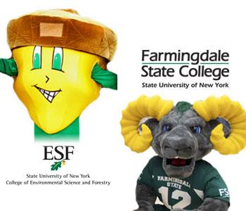 SUNY ESF mascot Oakie the Acorn and Farmingdale State mascot Ram-bo