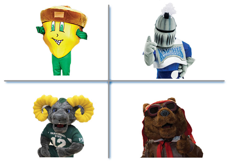 SUNY Mascots - oakie the acorn, ram-bo, victor e. knight, red baron