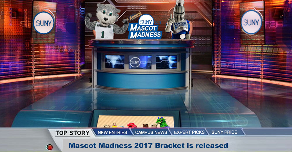 TV sports studio announcing Mascot Madness 2017 bracket