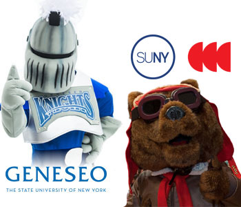SUNY Heneseo mascot Victor E Knight and Corning Community College mascot Red Baron