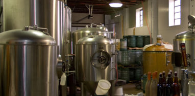 The inside of a beer brewery.