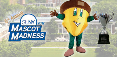 Mascot Madness 2017 Oakie the Acorn with trophy