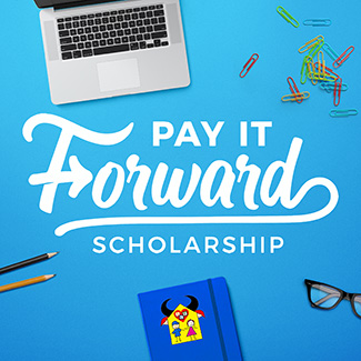 Pay It Forward scholarship graphic, by Deirdra Kearns