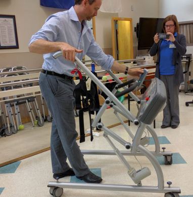 A man testing a Purwar Mobility Device at Stony Brook University