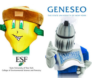 ESF mascot Oakie the Acorn and Geneseo mascot Victor E Knight.