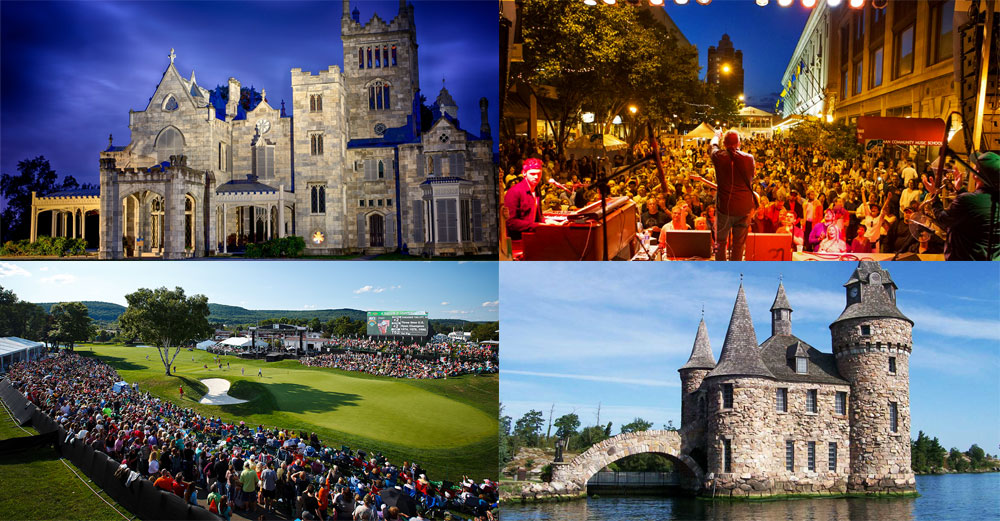 collage of summer activities in New York State - Boldt castle, rochester jazz fest, Dicks open golf tournament, Lyndhurst Mansion