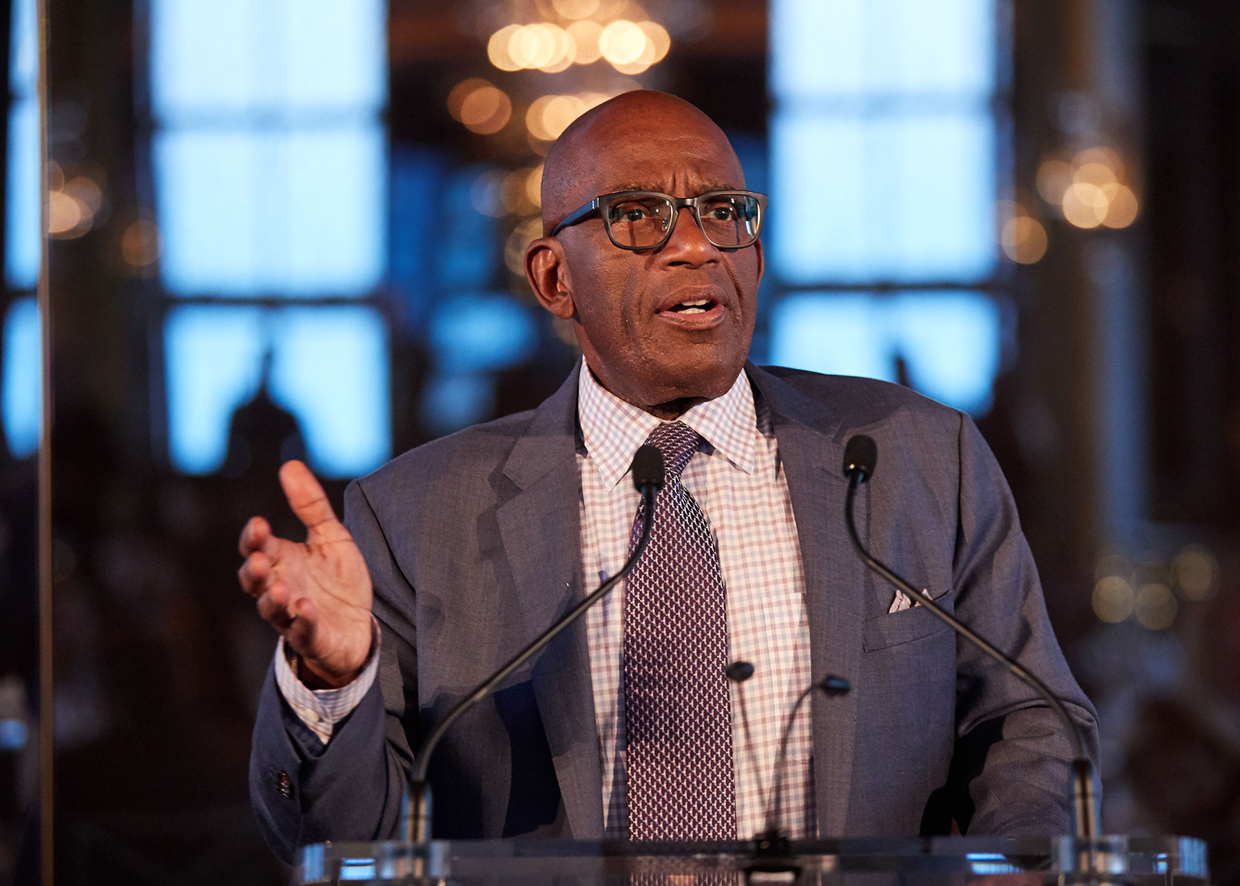 Al Roker speaks at the podium at the EOP 50th anniversary benefit gala in the Rainbow Room in NYC.