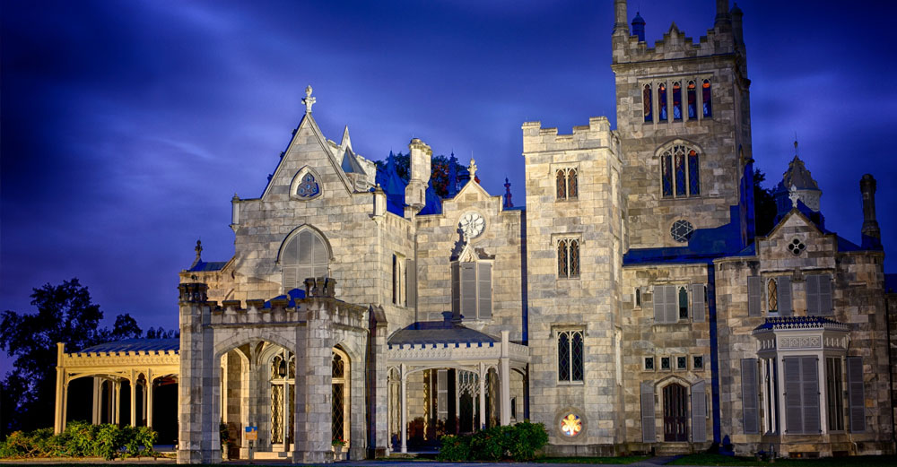 nighttime view of Lyndhurst Mansion at Sleepy Hollow NY