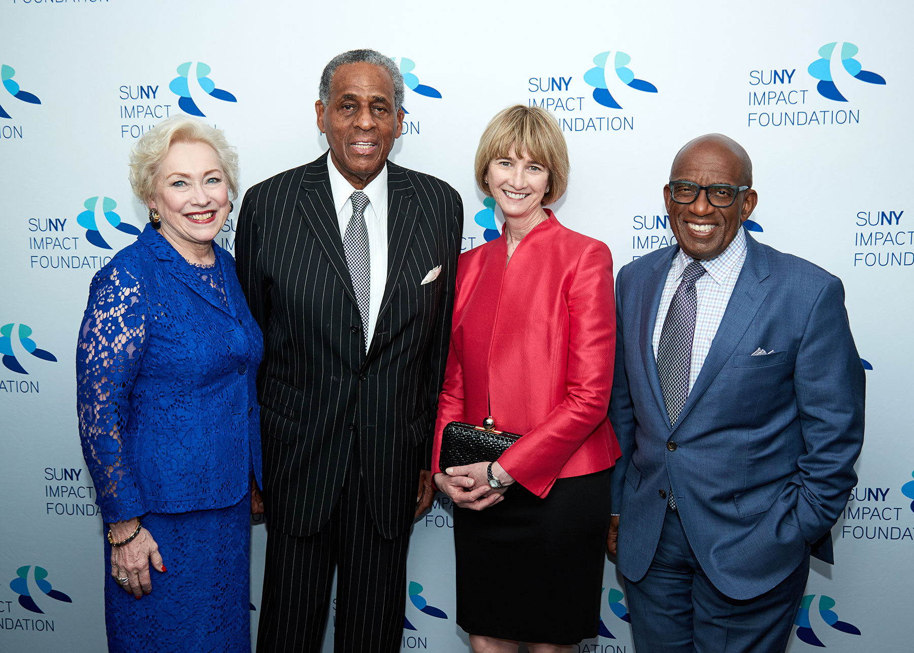 Chancellor Zimpher, Carl McCall, Kristina M Johnson, and Al Roker pose for the camera at the EOP 50th Anniversary Benefit dinner.