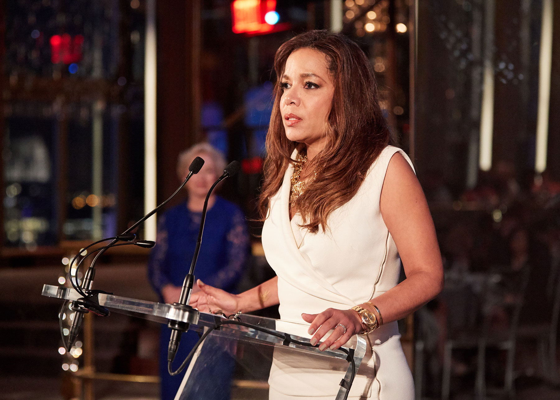 Sunny Hostin speaks at the podium at the EOP 50th Anniversary Benefit dinner in NYC.