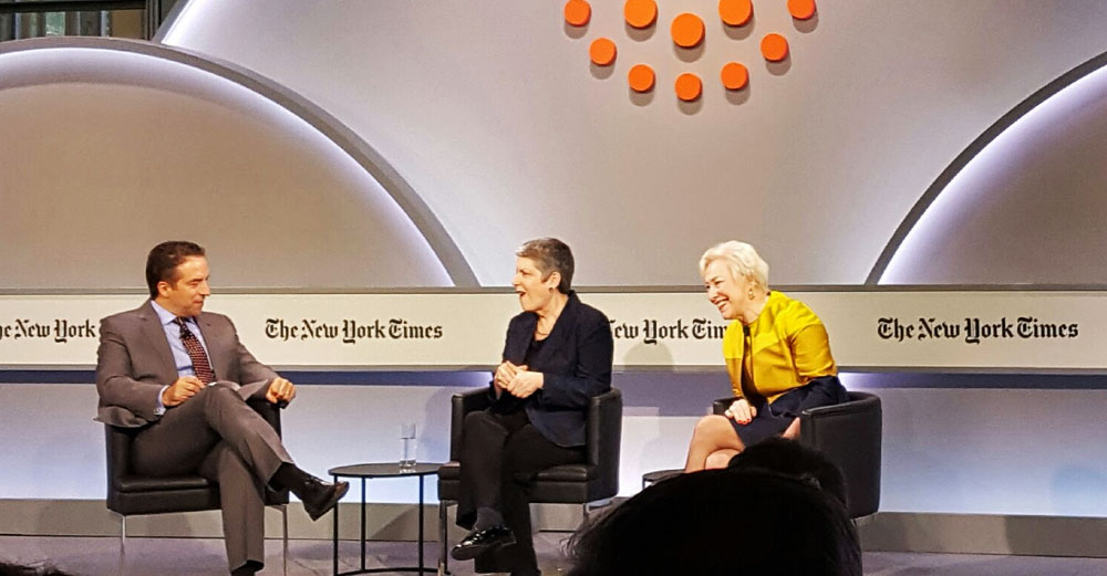 Chancellor Zimpher and U of California president Janet Napolitano on stage at the NY Times HIgher Ed Leaders Forum at the TimesCenter in NYC.