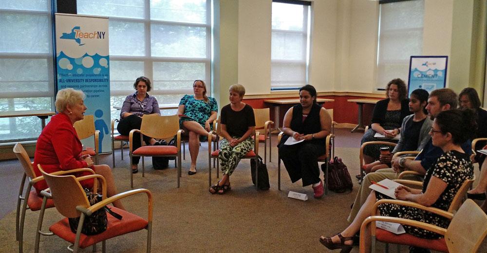 Chancellor Zimpher speaks with teachers at a TeachNY speakout session at Empire State College.