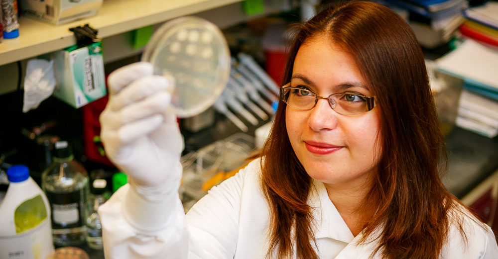 A female holds up a test dish of DNA samples at the UAlbany RNA institute lab.
