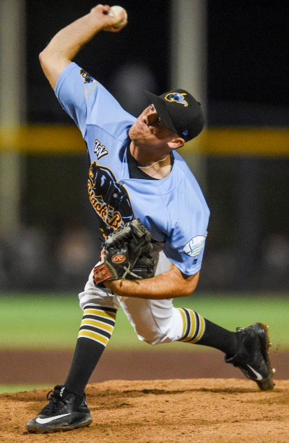 Matt Seelinger throws a pitch for the West Virginia Black Bears