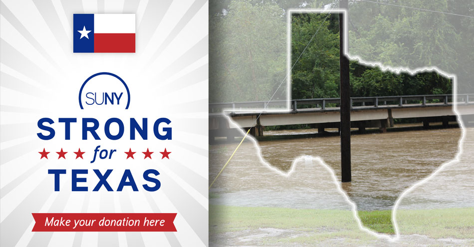 SUNY Strong for Texas logo over the top of a flooded Houston street that happened after Hurricane Harvey.