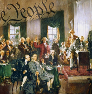 Old picture of the framers of the U.S. consitution with We The People over top.