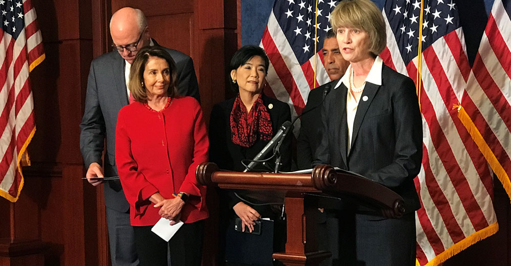 Chancellor Kristina Johnson speaks in Washington DC with US Senator Pelosi and other congressional leaders about the Dream Act for DACA students.