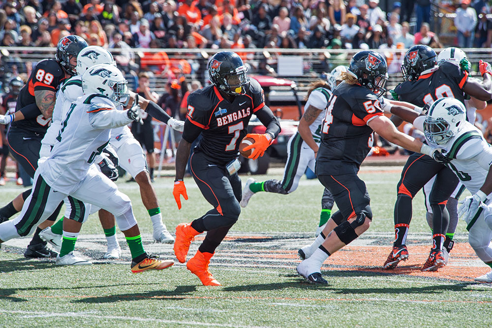A player carries the ball for the Buffalo State Bengals in a football game.