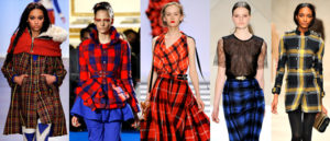 Female models in various plaid check outfits