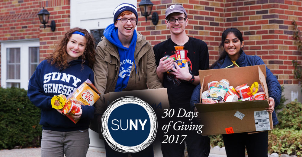 SUNY Geneseo students stand outside with boxes of food items.