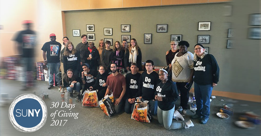 Columbia-Greene Community College students and staff pose for picture during a food drive.