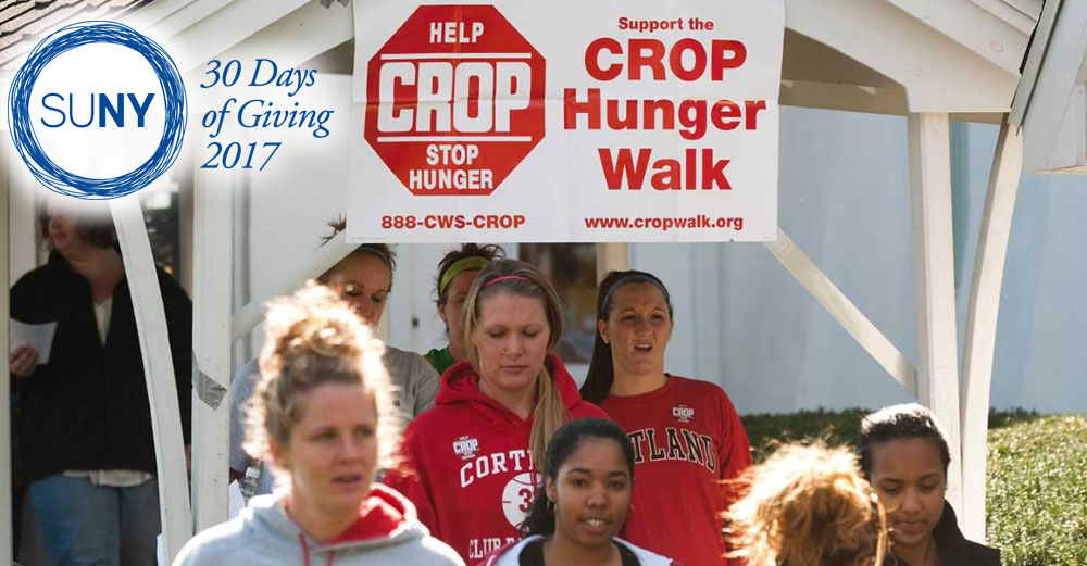 SUNY Cortland students participate in the 2017 CROP Hunger walk.