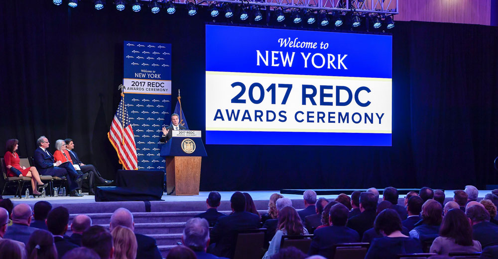 The stage for the 2017 REDC Awards at the Capital Center in Albany.