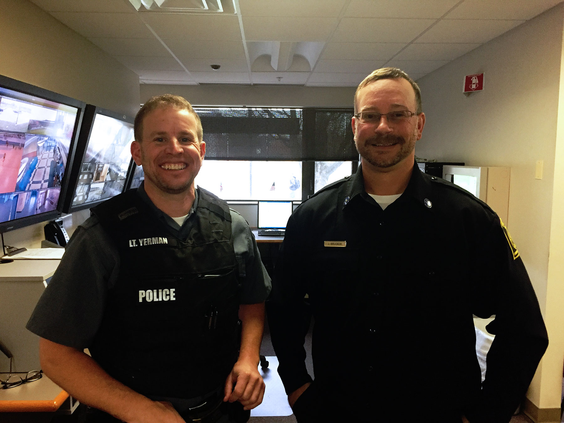 SUNY Poly university police in command center showing no-shave November faces.