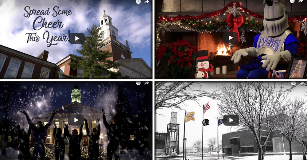 Screenshots of 4 SUNY campus holiday wishes videos .