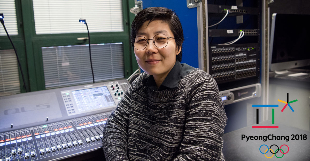 Sun Hee Kil, assistant professor in the Department of Theatre Arts at SUNY New Paltz, sits in a music studio.