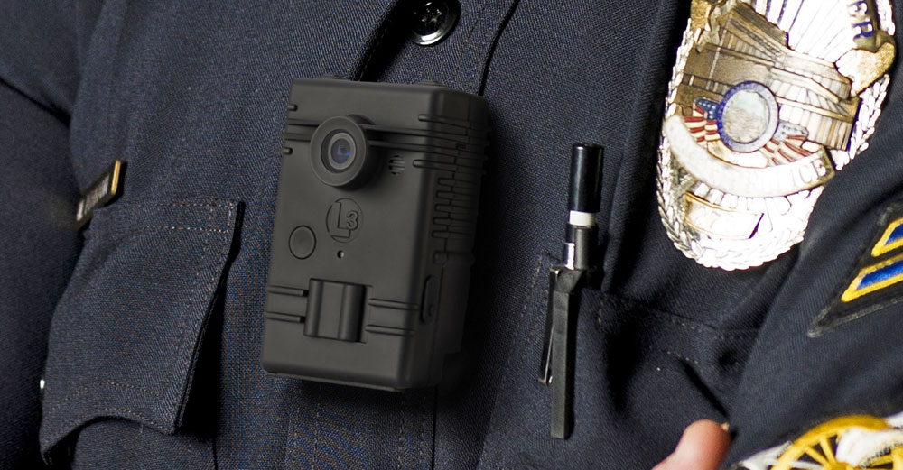 A body camera attached to a police uniform.